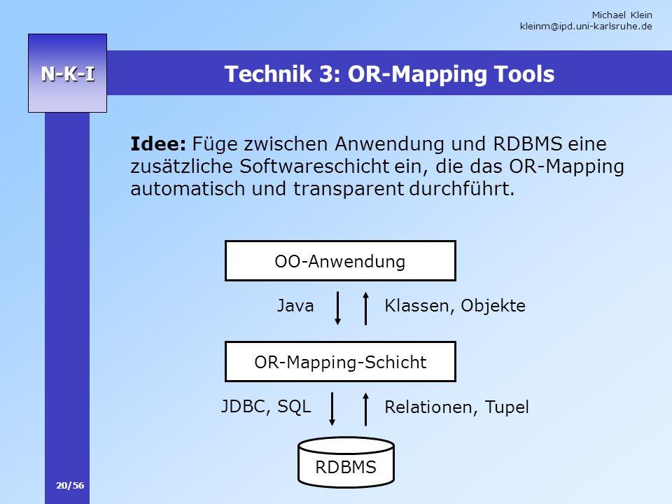 Michael Klein kleinm@ipd.uni-karlsruhe.de 20/56 N-K-I Technik 3: OR-Mapping Tools Idee: Füge zwischen Anwendung und RDBMS eine zusätzliche Softwaresch