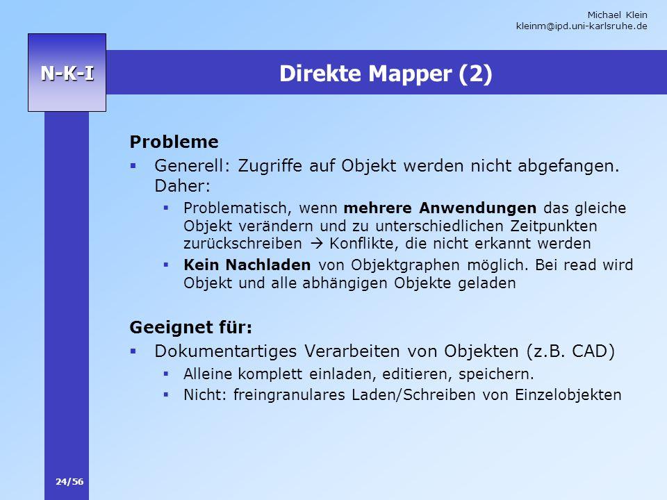 Michael Klein kleinm@ipd.uni-karlsruhe.de 24/56 N-K-I Direkte Mapper (2) Probleme Generell: Zugriffe auf Objekt werden nicht abgefangen. Daher: Proble