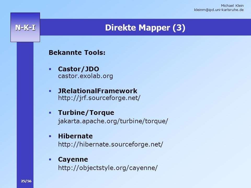 Michael Klein kleinm@ipd.uni-karlsruhe.de 25/56 N-K-I Direkte Mapper (3) Bekannte Tools: Castor/JDO castor.exolab.org JRelationalFramework http://jrf.