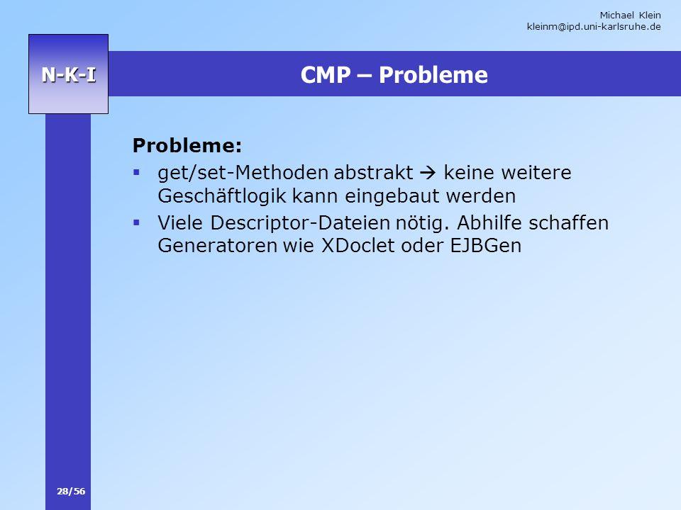 Michael Klein kleinm@ipd.uni-karlsruhe.de 28/56 N-K-I CMP – Probleme Probleme: get/set-Methoden abstrakt keine weitere Geschäftlogik kann eingebaut we