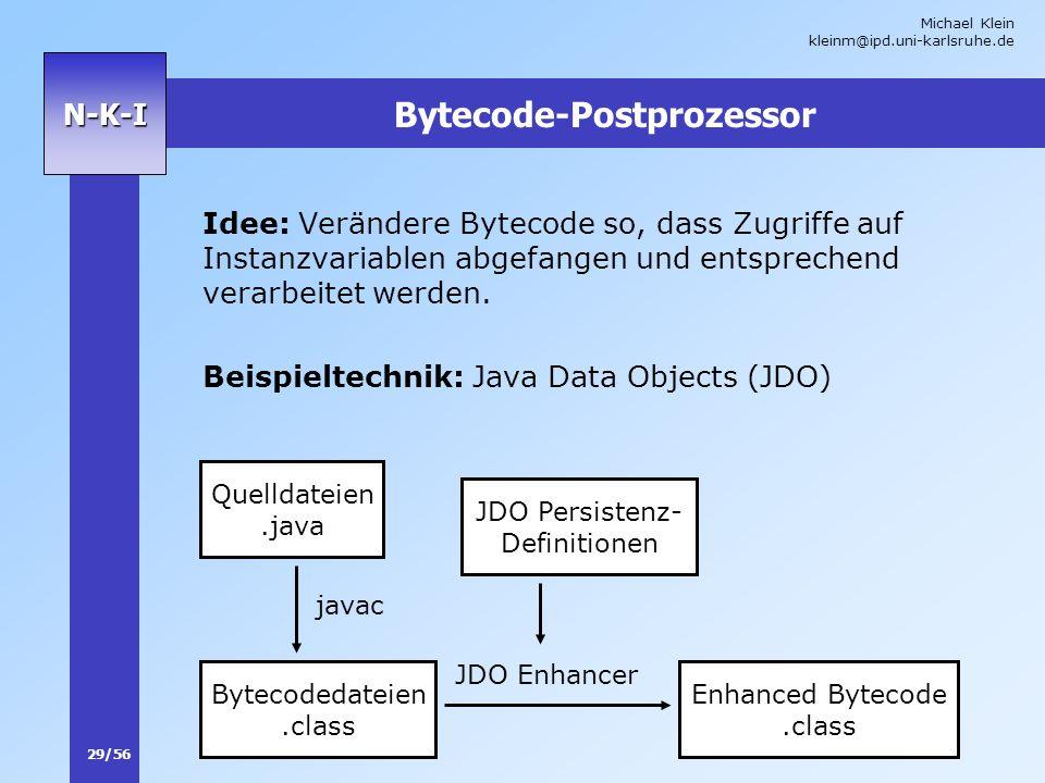 Michael Klein kleinm@ipd.uni-karlsruhe.de 29/56 N-K-I Bytecode-Postprozessor Idee: Verändere Bytecode so, dass Zugriffe auf Instanzvariablen abgefange