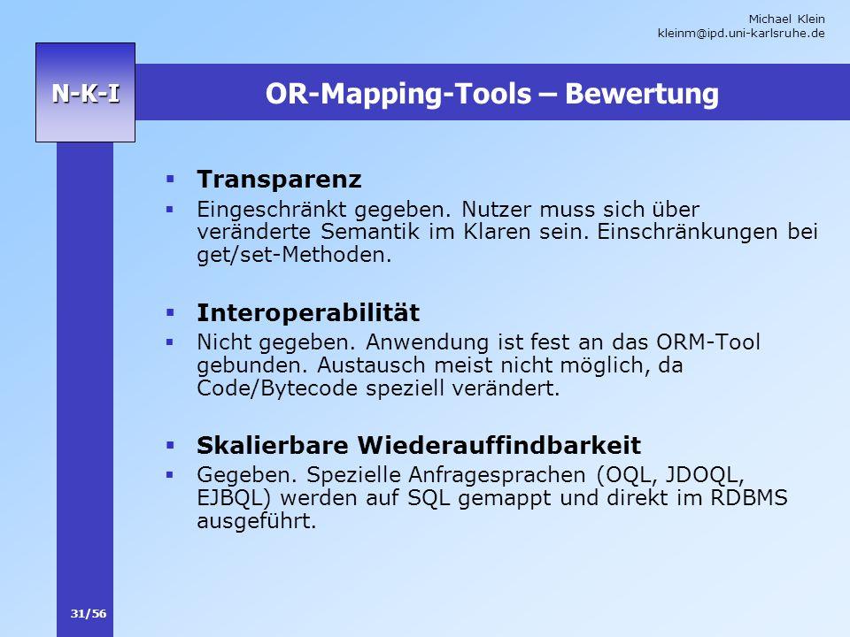Michael Klein kleinm@ipd.uni-karlsruhe.de 31/56 N-K-I OR-Mapping-Tools – Bewertung Transparenz Eingeschränkt gegeben. Nutzer muss sich über veränderte