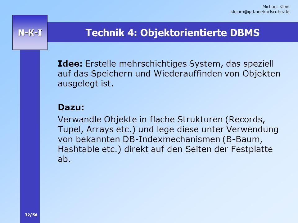 Michael Klein kleinm@ipd.uni-karlsruhe.de 32/56 N-K-I Technik 4: Objektorientierte DBMS Idee: Erstelle mehrschichtiges System, das speziell auf das Sp