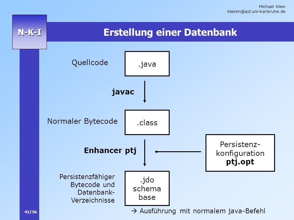 Michael Klein kleinm@ipd.uni-karlsruhe.de 41/56 N-K-I Erstellung einer Datenbank.java.class javac Enhancer ptj.jdo schema base Quellcode Normaler Byte