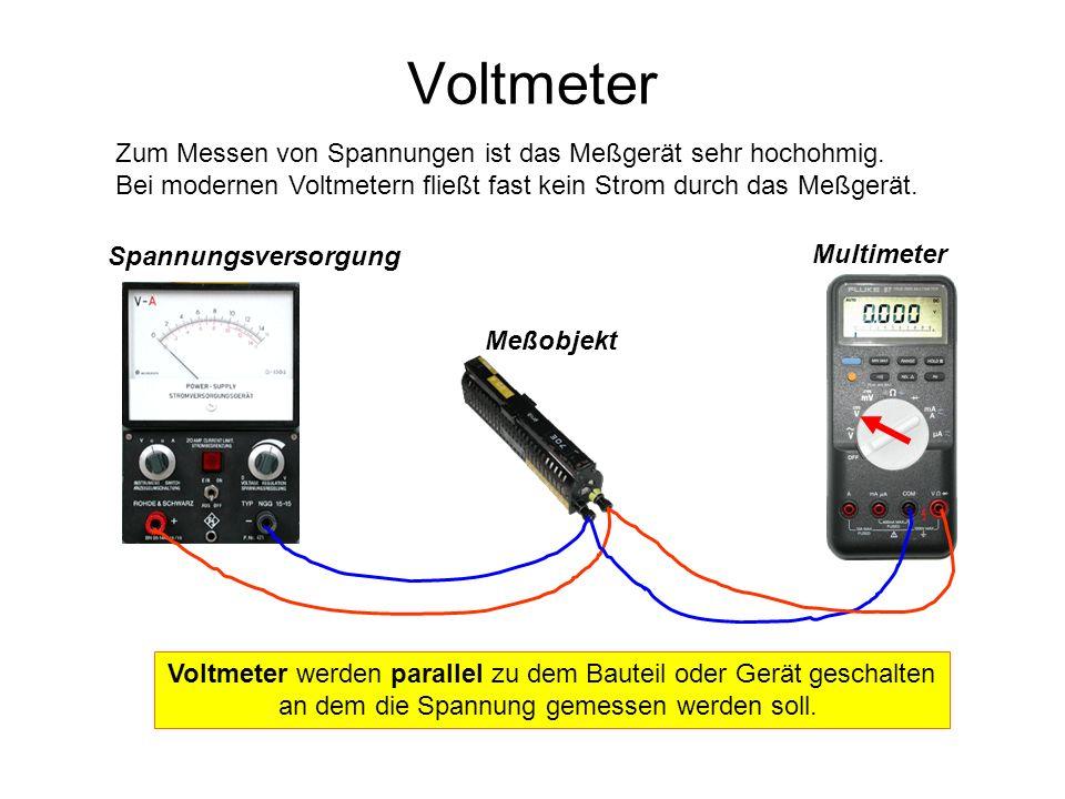 Spannungsversorgung Meßobjekt Multimeter Voltmeter Zum Messen von Spannungen ist das Meßgerät sehr hochohmig. Bei modernen Voltmetern fließt fast kein