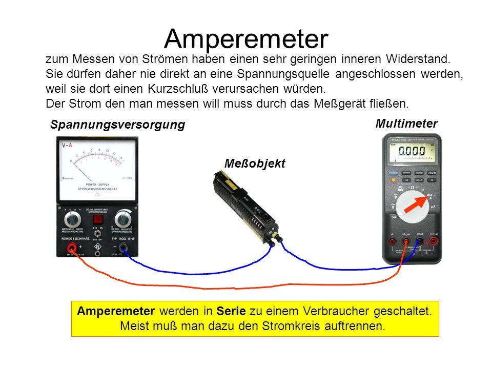 Spannungsversorgung Meßobjekt Multimeter Ohmmeter messen den Widerstand eines Bauteiles.