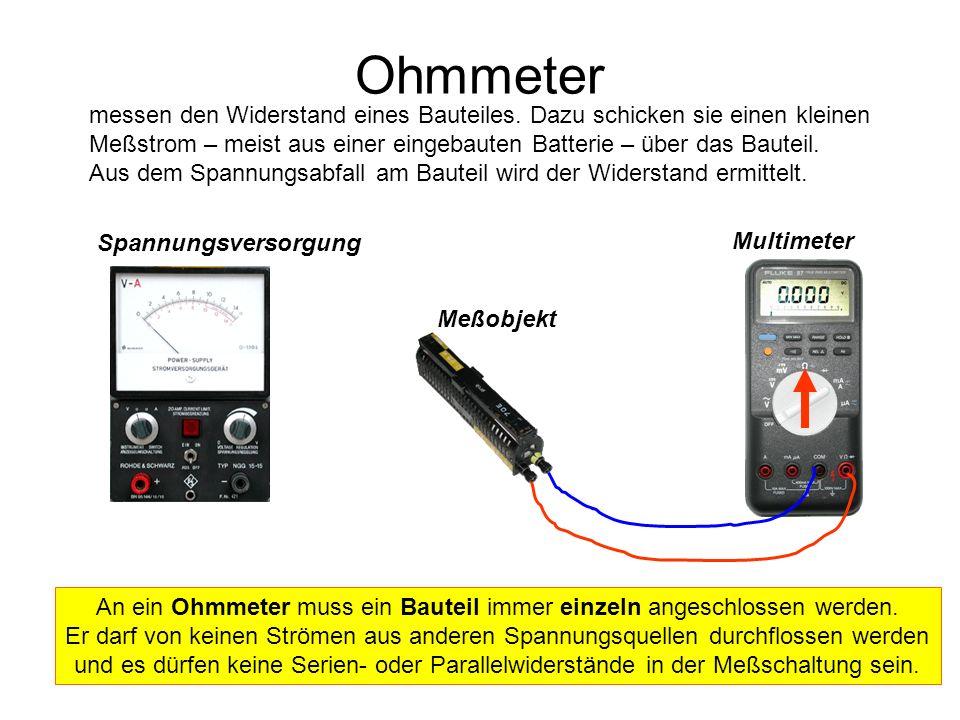 Spannungsversorgung Meßobjekt Multimeter Ohmmeter messen den Widerstand eines Bauteiles. Dazu schicken sie einen kleinen Meßstrom – meist aus einer ei