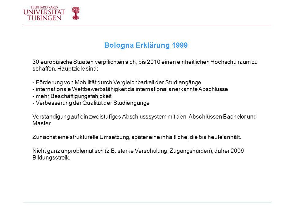 Bologna Erklärung 1999 30 europäische Staaten verpflichten sich, bis 2010 einen einheitlichen Hochschulraum zu schaffen. Hauptziele sind: - Förderung