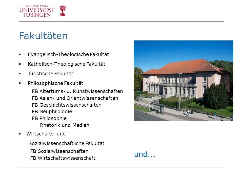 Fakultäten Evangelisch-Theologische Fakultät Katholisch-Theologische Fakultät Juristische Fakultät Philosophische Fakultät FB Altertums- u. Kunstwisse