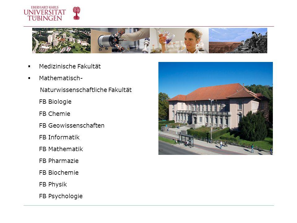 Medizinische Fakultät Mathematisch- Naturwissenschaftliche Fakultät FB Biologie FB Chemie FB Geowissenschaften FB Informatik FB Mathematik FB Pharmazi