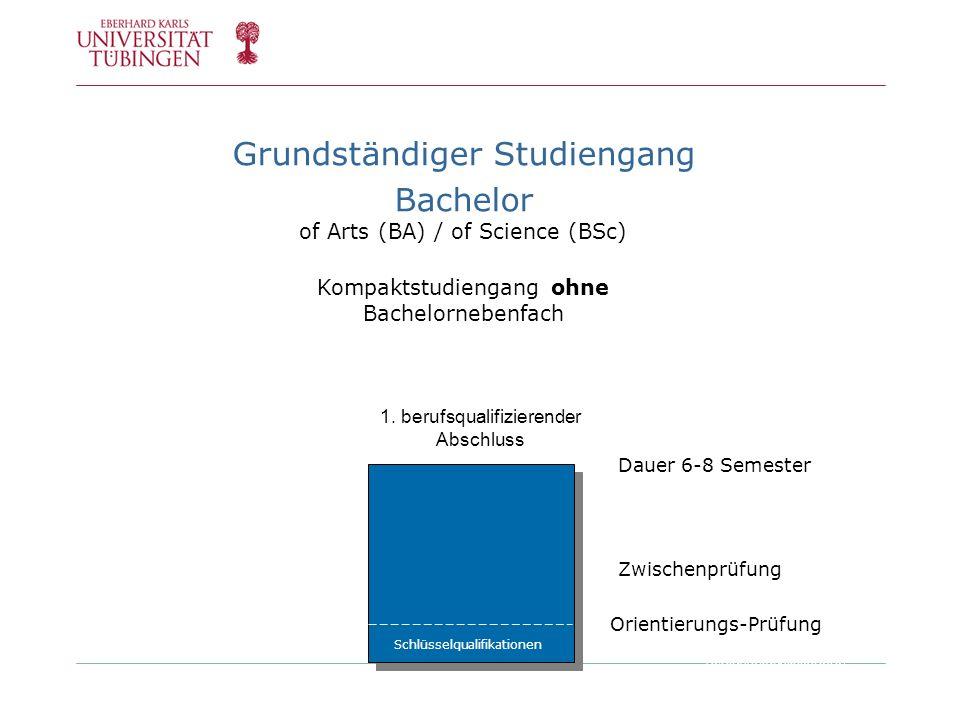 NF Orientierungs-Prüfung Grundständiger Studiengang Bachelor of Arts (BA) / of Science (BSc) Kompaktstudiengang ohne Bachelornebenfach 1. berufsqualif