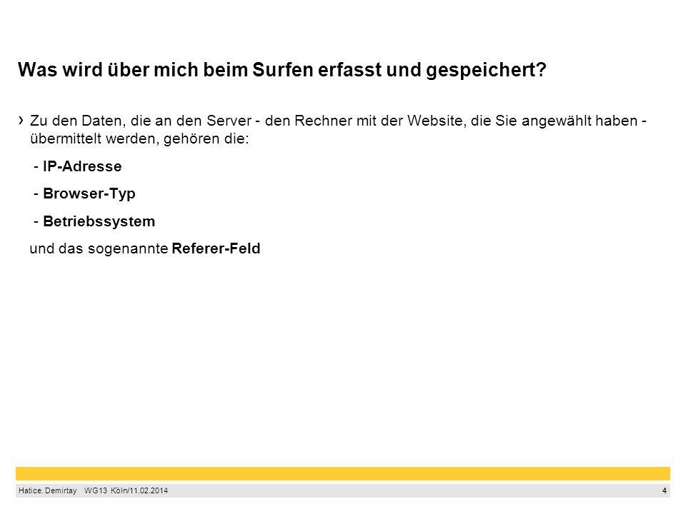 5 Hatice.Demirtay WG13 Köln/11.02.2014 Was wird über mich beim Surfen erfasst und gespeichert.