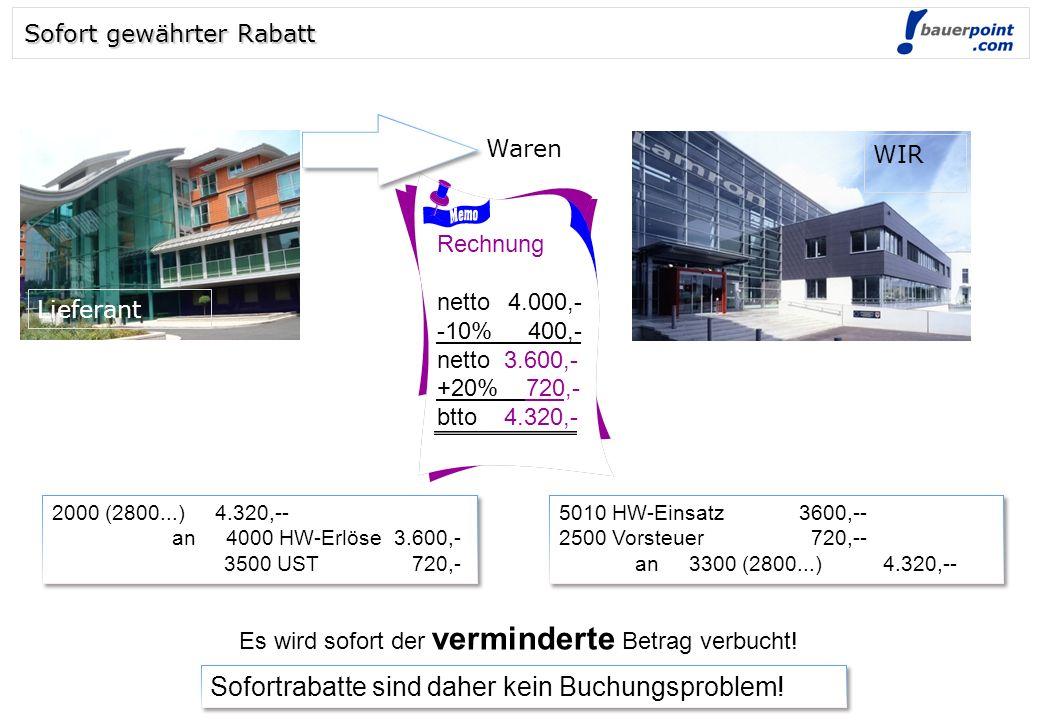 © bauerpoint.com Rechnung netto4.000,- -10%_ 400,- netto 3.600,- +20% 720,- btto 4.320,- 5010 HW-Einsatz3600,-- 2500 Vorsteuer 720,-- an 3300 (2800...