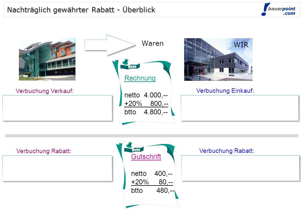 © bauerpoint.com Rechnung netto 8.000,-- +20% 1.600,-- btto 9.600,-- Gutschrift netto 800,-- +20% 160,-- btto 960,-- 2000 Lieferford.