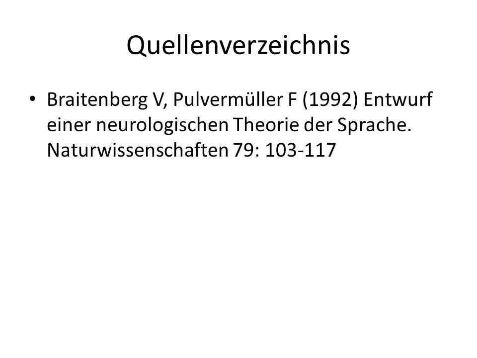 Quellenverzeichnis Braitenberg V, Pulvermüller F (1992) Entwurf einer neurologischen Theorie der Sprache. Naturwissenschaften 79: 103-117