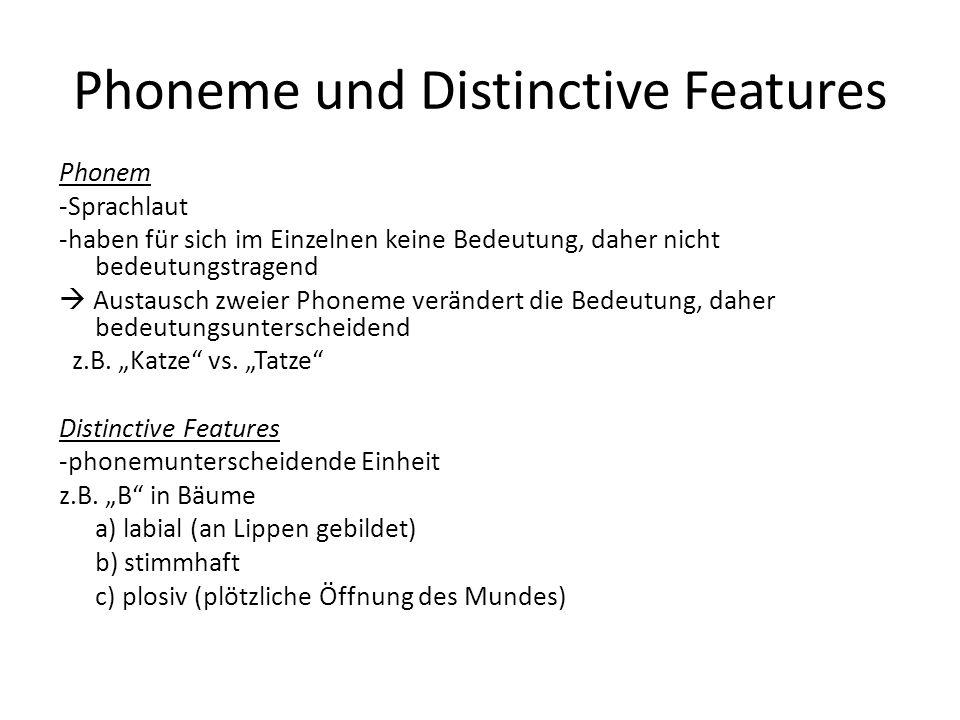 Phoneme und Distinctive Features Phonem -Sprachlaut -haben für sich im Einzelnen keine Bedeutung, daher nicht bedeutungstragend Austausch zweier Phone