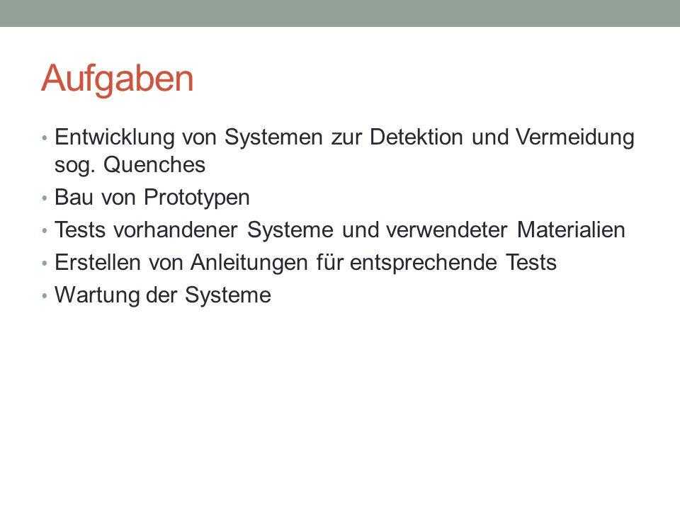 Systeme zur Erkennung von Quenches Quench = Unregelmässigkeiten im Spannungsverlauf Detektion (alt): Wenn U(1.
