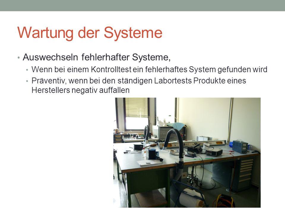 Wartung der Systeme Auswechseln fehlerhafter Systeme, Wenn bei einem Kontrolltest ein fehlerhaftes System gefunden wird Präventiv, wenn bei den ständigen Labortests Produkte eines Herstellers negativ auffallen