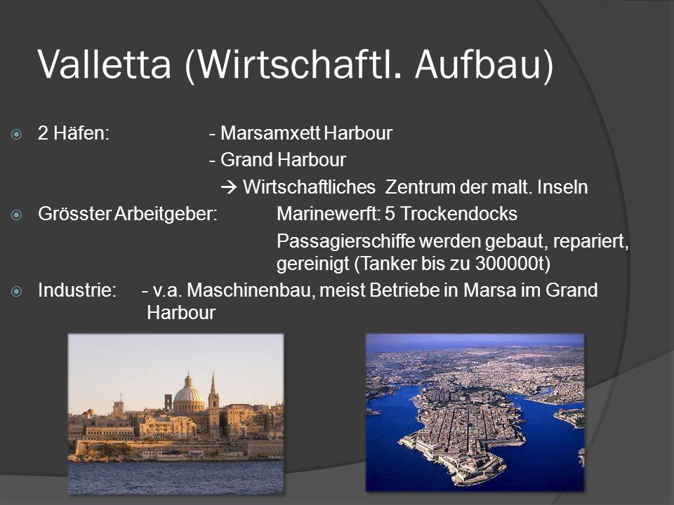 Valletta (Wirtschaftl. Aufbau) 2 Häfen: - Marsamxett Harbour - Grand Harbour Wirtschaftliches Zentrum der malt. Inseln Grösster Arbeitgeber:Marinewerf