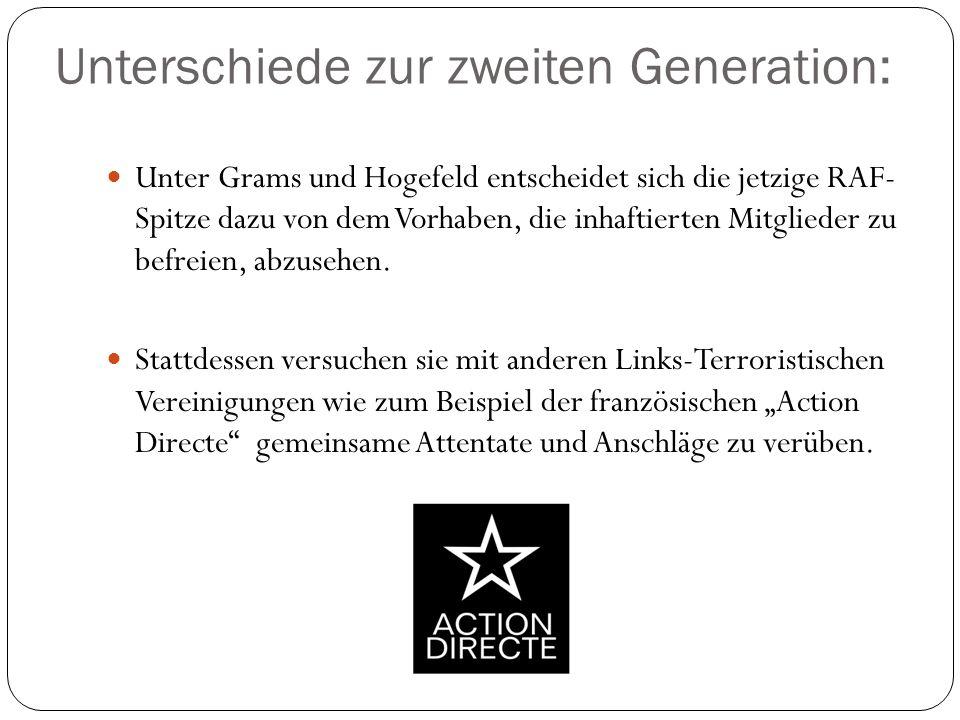 Unterschiede zur zweiten Generation: Unter Grams und Hogefeld entscheidet sich die jetzige RAF- Spitze dazu von dem Vorhaben, die inhaftierten Mitglie