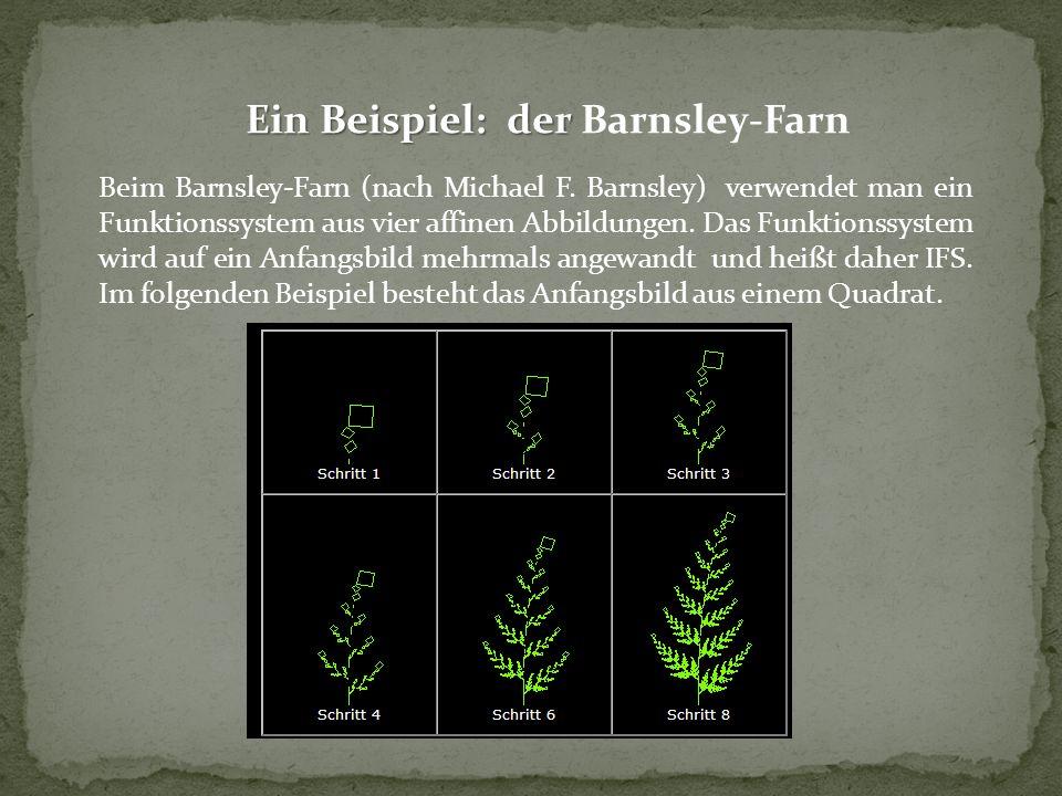 Ein Beispiel: der Ein Beispiel: der Barnsley-Farn Beim Barnsley-Farn (nach Michael F. Barnsley) verwendet man ein Funktionssystem aus vier affinen Abb