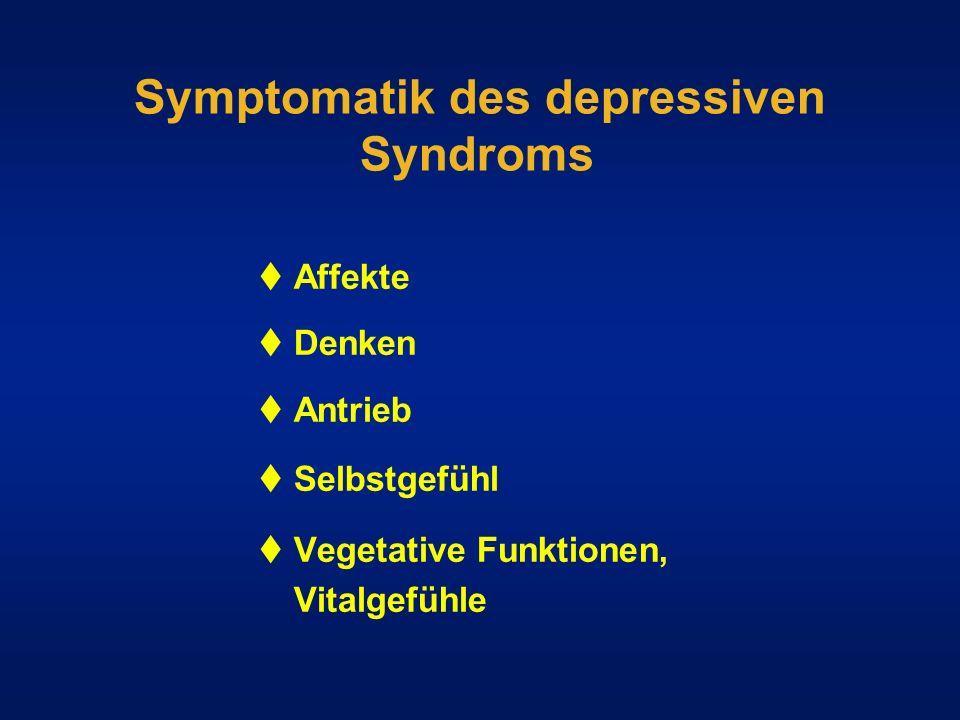 Symptomatik des depressiven Syndroms Affekte Denken Antrieb Selbstgefühl Vegetative Funktionen, Vitalgefühle