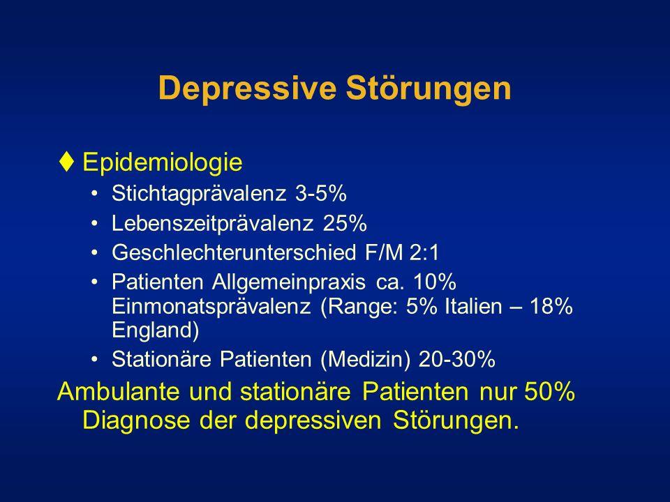 Depressive Störungen Epidemiologie Stichtagprävalenz 3-5% Lebenszeitprävalenz 25% Geschlechterunterschied F/M 2:1 Patienten Allgemeinpraxis ca. 10% Ei