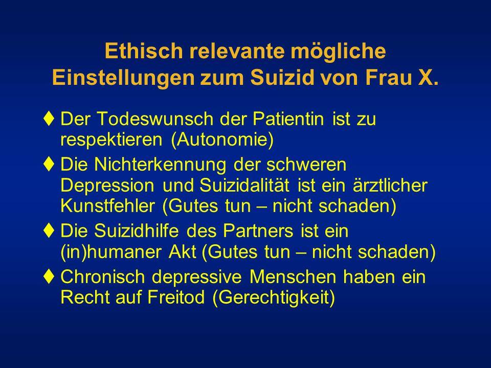 Ethisch relevante mögliche Einstellungen zum Suizid von Frau X. Der Todeswunsch der Patientin ist zu respektieren (Autonomie) Die Nichterkennung der s