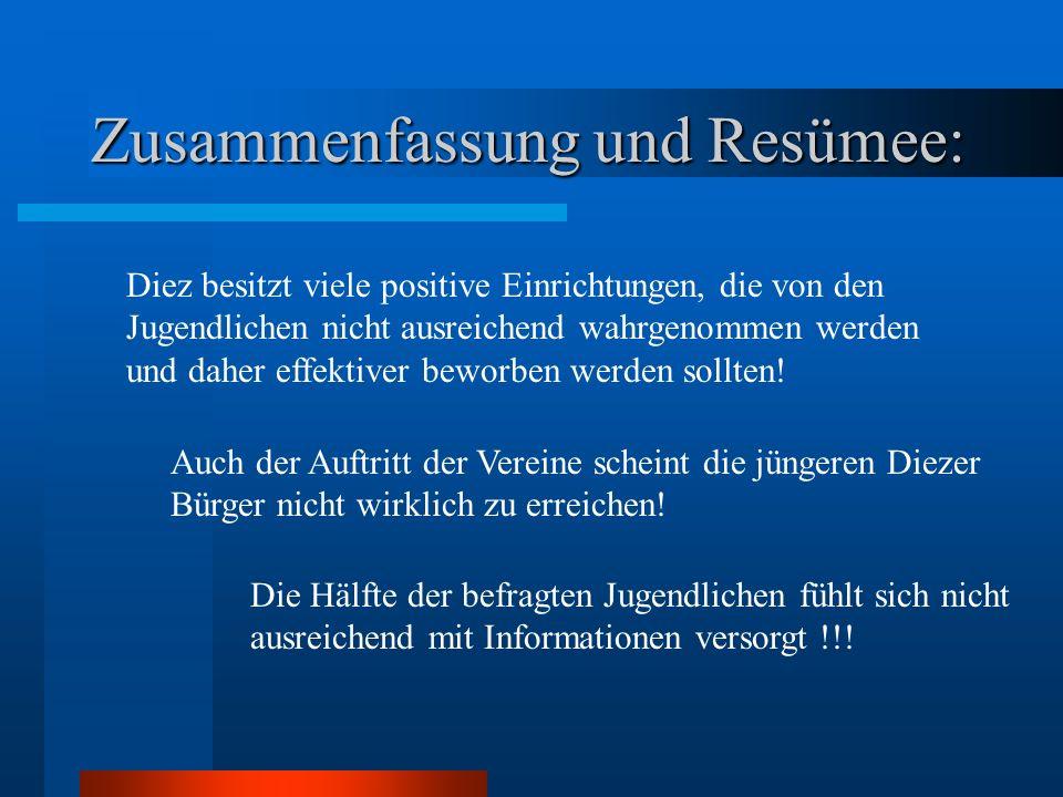Zusammenfassung und Resümee: Diez besitzt viele positive Einrichtungen, die von den Jugendlichen nicht ausreichend wahrgenommen werden und daher effektiver beworben werden sollten.
