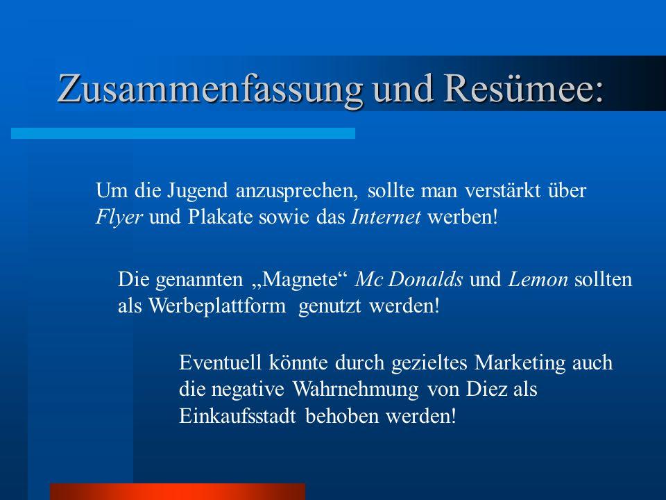 Zusammenfassung und Resümee: Die genannten Magnete Mc Donalds und Lemon sollten als Werbeplattform genutzt werden.