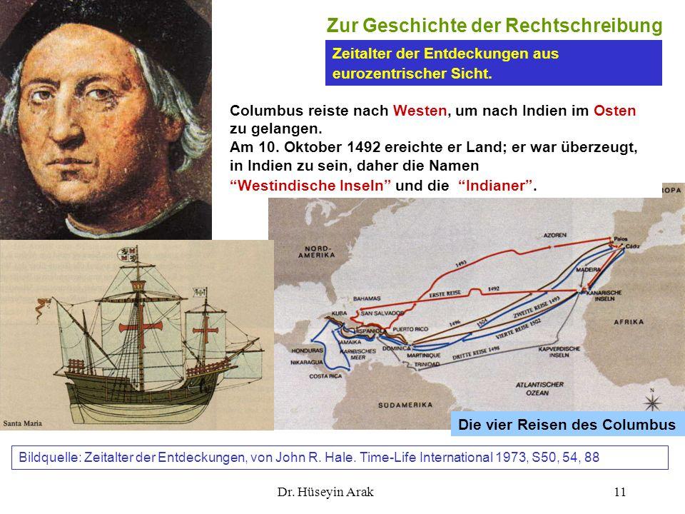 Dr. Hüseyin Arak11 Zeitalter der Entdeckungen aus eurozentrischer Sicht. Die vier Reisen des Columbus Zur Geschichte der Rechtschreibung Columbus reis
