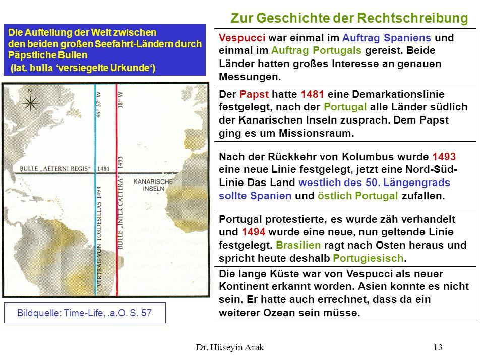 Dr. Hüseyin Arak13 Zur Geschichte der Rechtschreibung Die lange Küste war von Vespucci als neuer Kontinent erkannt worden. Asien konnte es nicht sein.