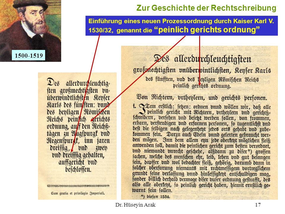 Dr. Hüseyin Arak17 Einführung eines neuen Prozessordnung durch Kaiser Karl V. 1530/32, genannt die peinlich gerichts ordnung 1500-1519 Zur Geschichte