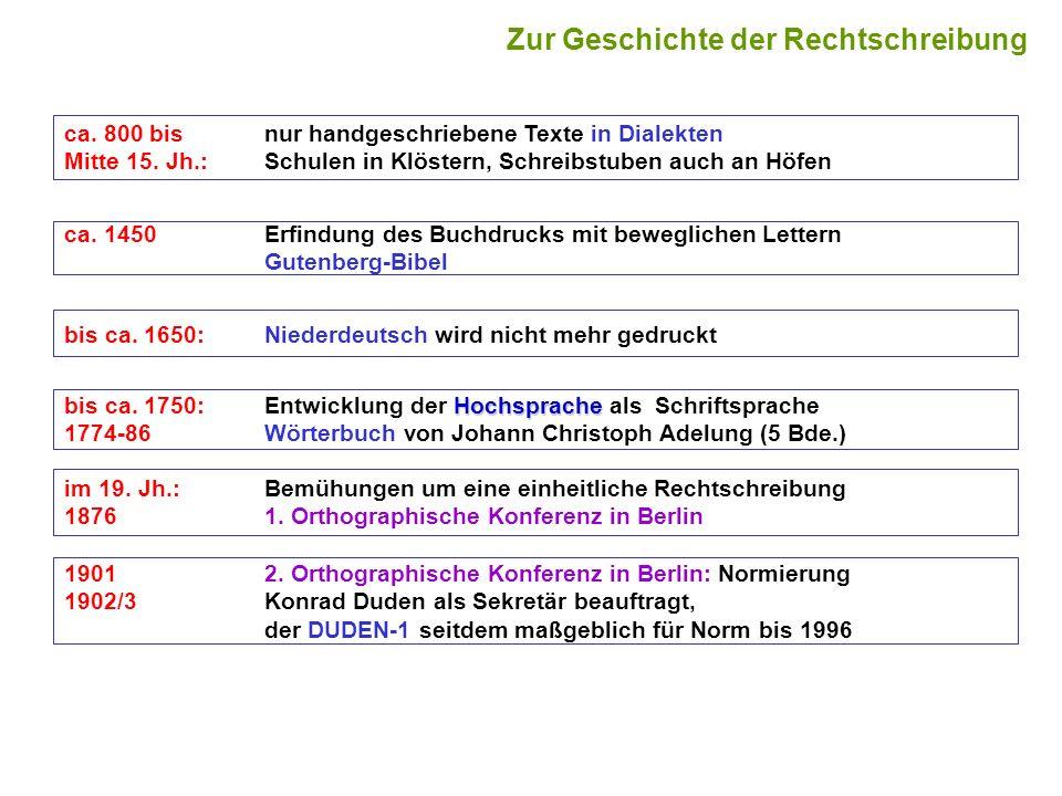 Zur Geschichte der Rechtschreibung ca. 800 bisnur handgeschriebene Texte in Dialekten Mitte 15. Jh.:Schulen in Klöstern, Schreibstuben auch an Höfen b