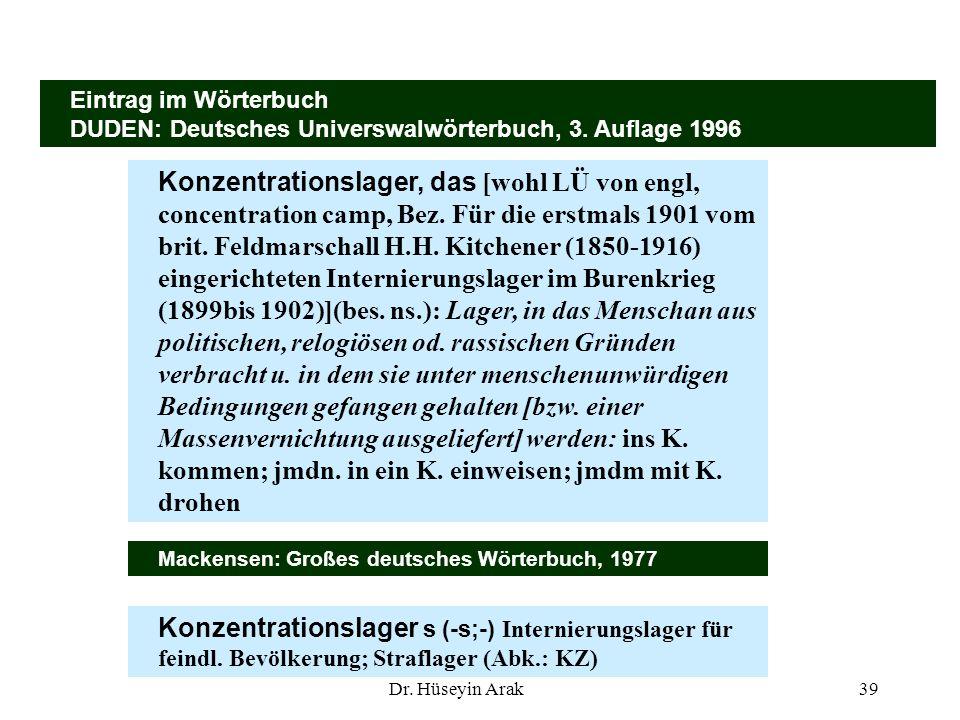 Dr. Hüseyin Arak39 Eintrag im Wörterbuch DUDEN: Deutsches Universwalwörterbuch, 3. Auflage 1996 Konzentrationslager, das [wohl LÜ von engl, concentrat