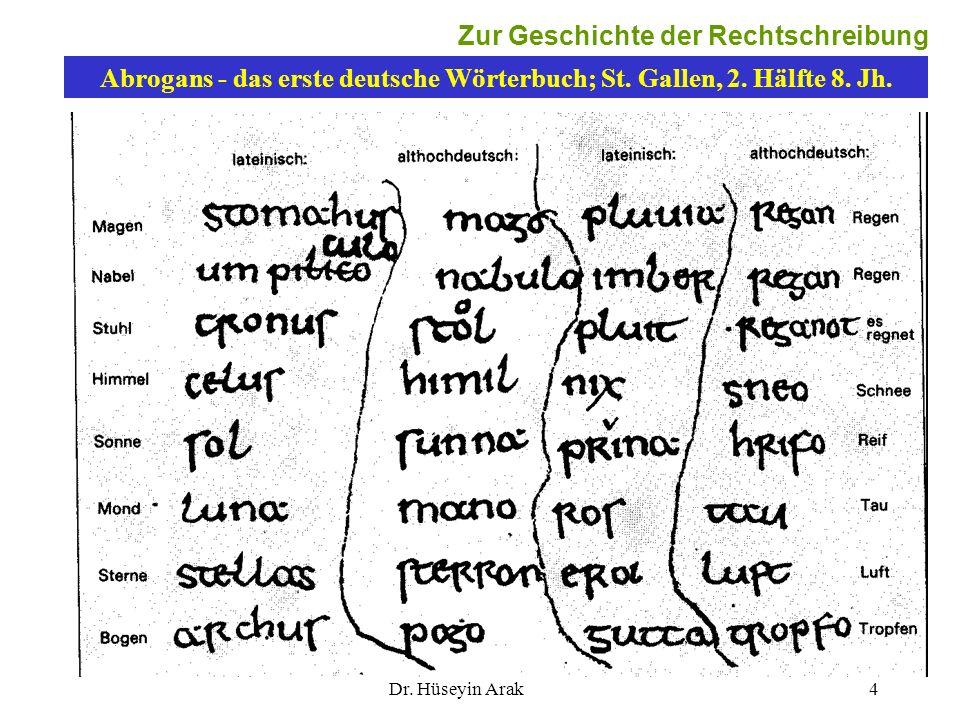 Dr. Hüseyin Arak4 Abrogans - das erste deutsche Wörterbuch; St. Gallen, 2. Hälfte 8. Jh. 4 Zur Geschichte der Rechtschreibung
