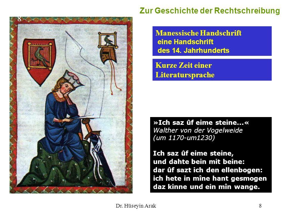 Dr. Hüseyin Arak8 »Ich saz ûf eime steine...« Walther von der Vogelweide (um 1170-um1230) Ich saz ûf eime steine, und dahte bein mit beine: dar ûf saz