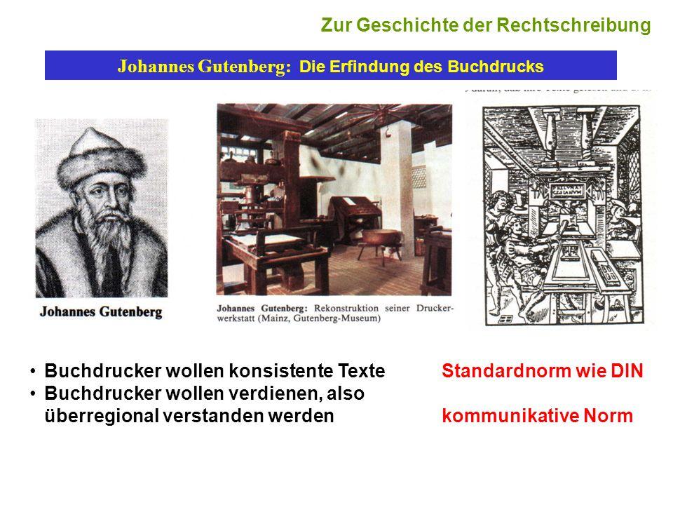 Johannes Gutenberg: Die Erfindung des Buchdrucks Buchdrucker wollen konsistente Texte Standardnorm wie DIN Buchdrucker wollen verdienen, also überregi