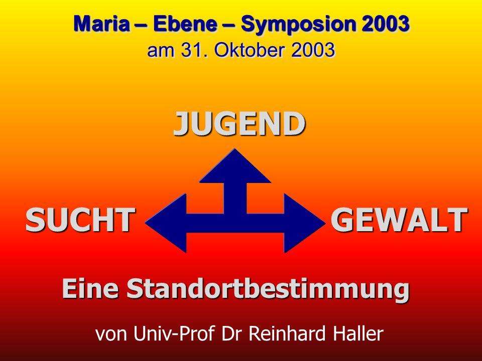 von Univ-Prof Dr Reinhard Haller JUGEND Maria – Ebene – Symposion 2003 Maria – Ebene – Symposion 2003 am 31. Oktober 2003 SUCHTGEWALT Eine Standortbes