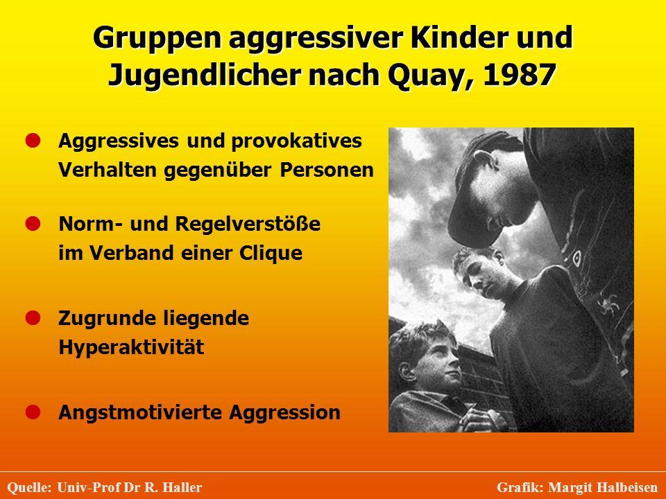 Gruppen aggressiver Kinder und Jugendlicher nach Quay, 1987 Quelle: Univ-Prof Dr R. Haller Grafik: Margit Halbeisen Aggressives und provokatives Verha