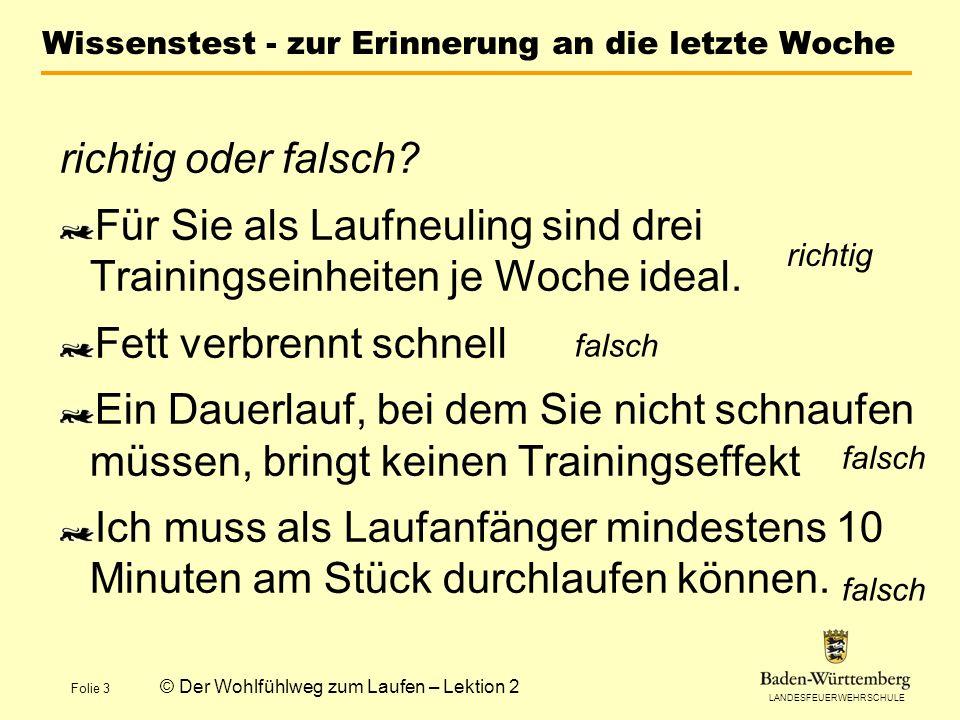 LANDESFEUERWEHRSCHULE Folie 4 © Der Wohlfühlweg zum Laufen – Lektion 2 Ihr Trainingsplan für die 2.