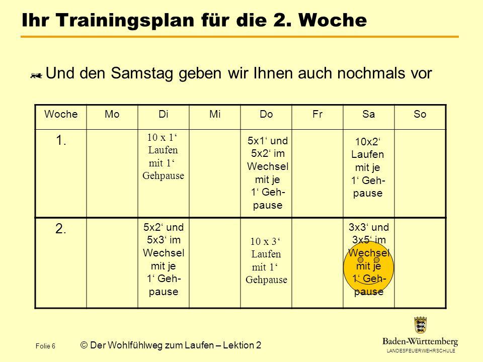 LANDESFEUERWEHRSCHULE Folie 6 © Der Wohlfühlweg zum Laufen – Lektion 2 Ihr Trainingsplan für die 2. Woche Und den Samstag geben wir Ihnen auch nochmal