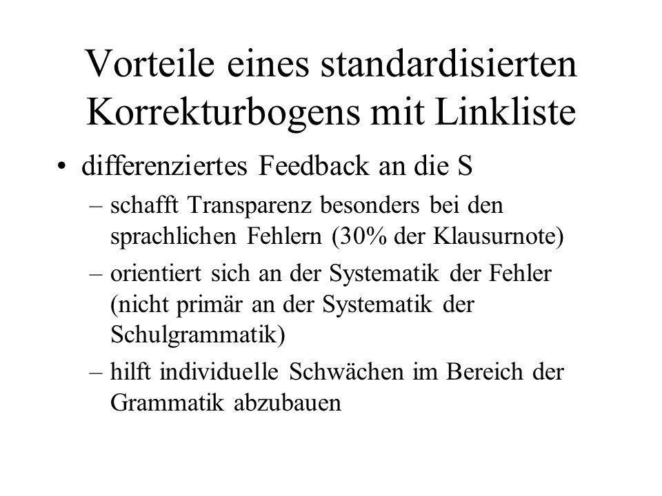 Vorteile eines standardisierten Korrekturbogens mit Linkliste differenziertes Feedback an die S –schafft Transparenz besonders bei den sprachlichen Fe