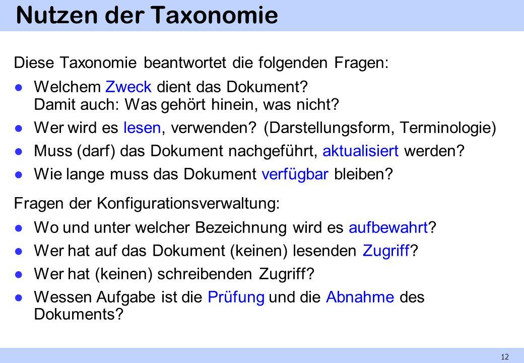 Nutzen der Taxonomie Diese Taxonomie beantwortet die folgenden Fragen: Welchem Zweck dient das Dokument? Damit auch: Was gehört hinein, was nicht? Wer
