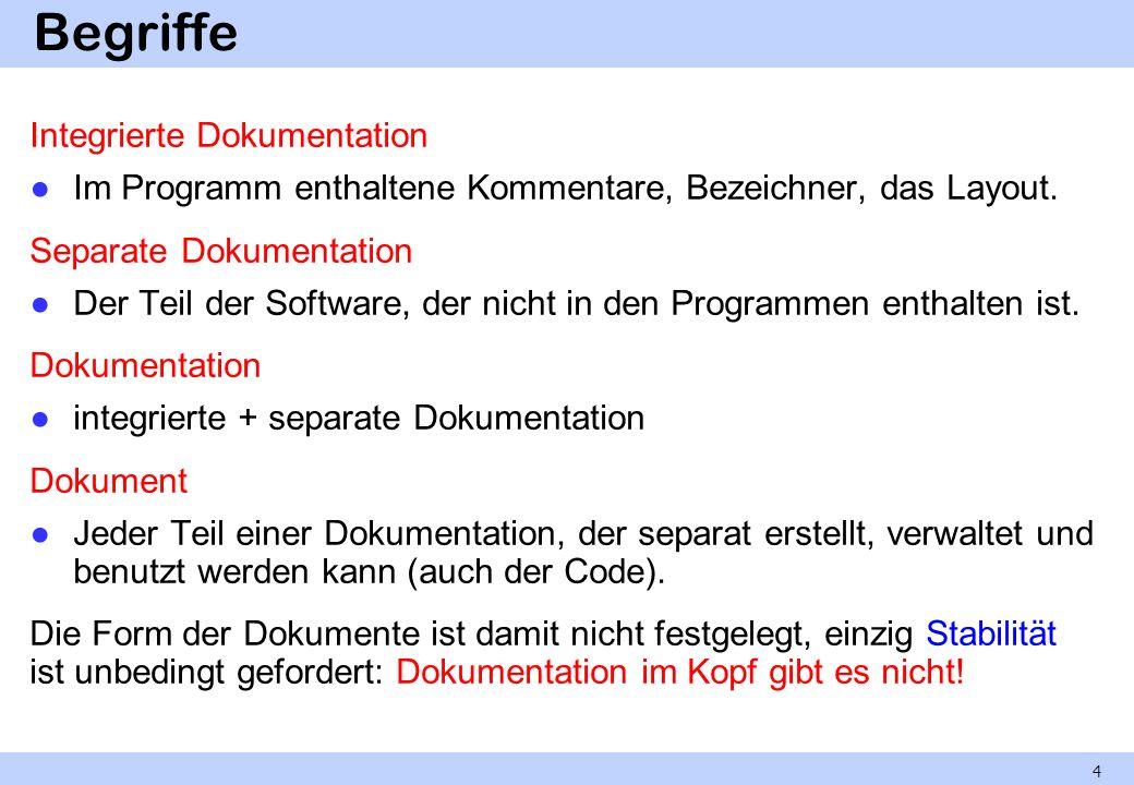 Begriffe Integrierte Dokumentation Im Programm enthaltene Kommentare, Bezeichner, das Layout. Separate Dokumentation Der Teil der Software, der nicht