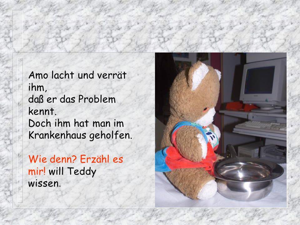 Amo lacht und verrät ihm, daß er das Problem kennt. Doch ihm hat man im Krankenhaus geholfen. Wie denn? Erzähl es mir! will Teddy wissen.