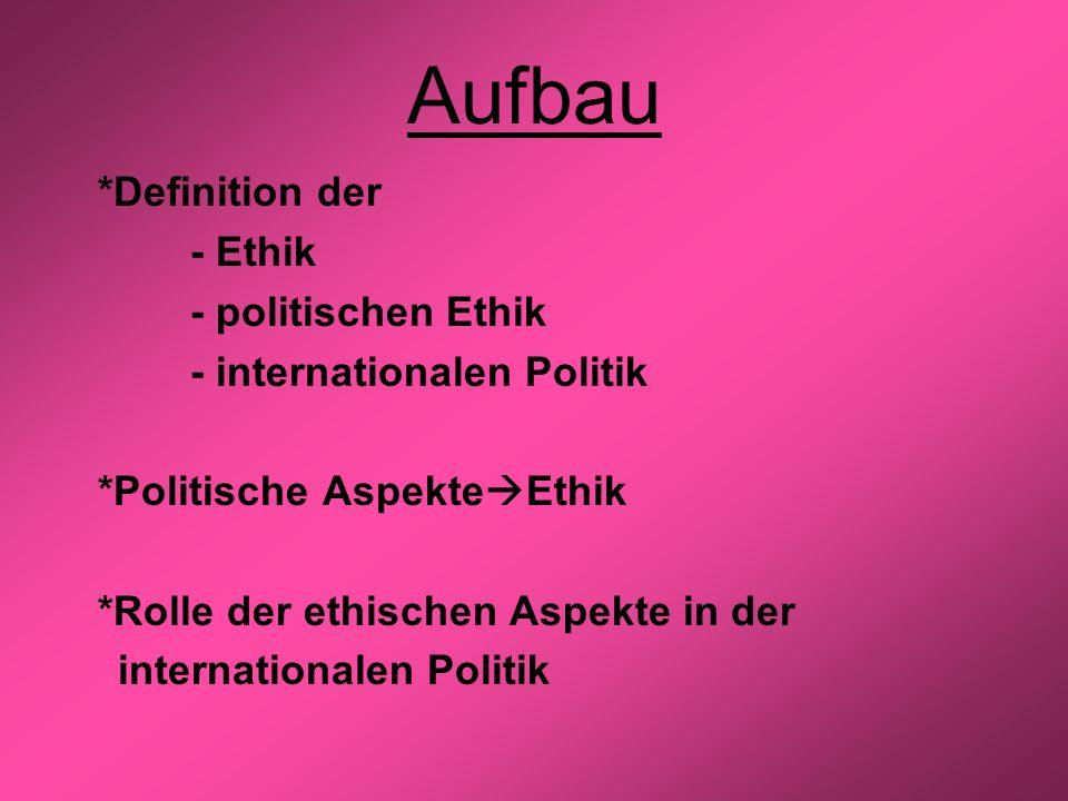 Aufbau *Definition der - Ethik - politischen Ethik - internationalen Politik *Politische Aspekte Ethik *Rolle der ethischen Aspekte in der internation