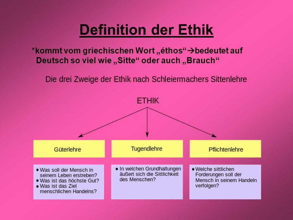 Definition der Ethik *kommt vom griechischen Wort éthos bedeutet auf Deutsch so viel wie Sitte oder auch Brauch