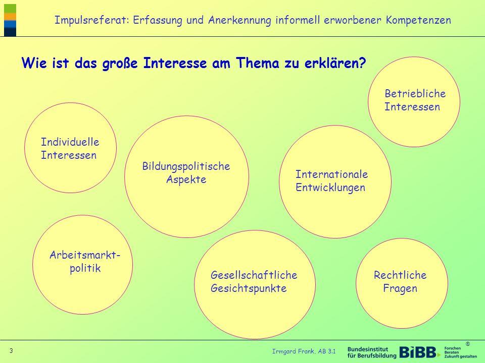 ® 3 Irmgard Frank, AB 3.1 Impulsreferat: Erfassung und Anerkennung informell erworbener Kompetenzen Wie ist das große Interesse am Thema zu erklären?