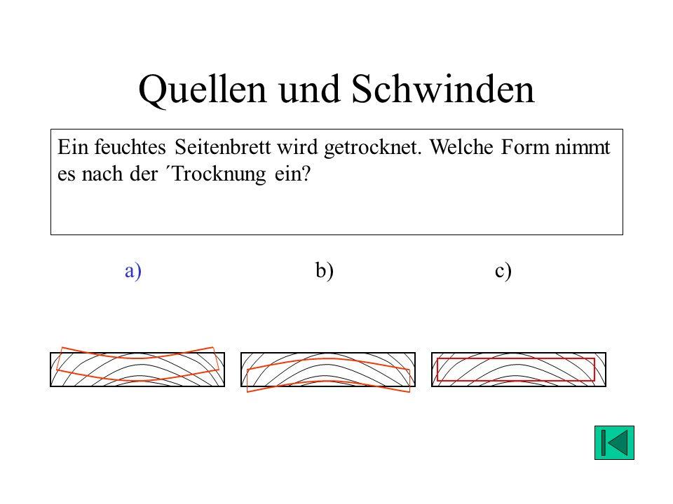 Quellen und Schwinden Ein feuchtes Seitenbrett wird getrocknet. Welche Form nimmt es nach der ´Trocknung ein? a) b)c) Lösung